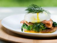 Salmon and Spinach Eggs Benedict with Butter Sauce recipe
