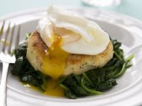 Salmon Balls with Sauteed Spinach and Poached Eggs recipe