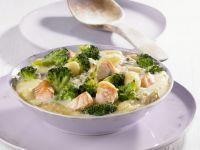 Salmon, Broccoli, and Gnocchi in Cheese Sauce