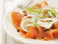 Salmon Carpaccio with Parmesan and Green Peppercorn recipe