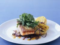 Salmon Fillet with Potato and Red Onion recipe