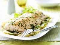 Salmon Fillet with Potatoes, Celery Root, Onions and Herbs recipe
