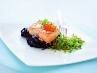 Salmon Fillets with Squid Ink Tagliatelle and Baby Basil recipe
