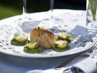 Salmon in Filo Pastry with Pea and Watercress Puree recipe