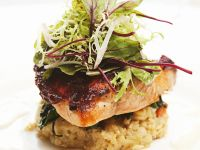 Salmon on Bed of Lentils recipe