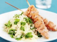 Salmon Skewers with Rice recipe