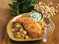 Salmon Steak with Garbanzos recipe
