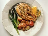 Salmon Steak with Potatoes and Asparagus recipe
