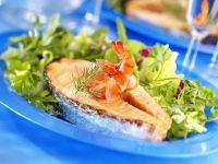 Salmon Steak with Shrimp and Salad