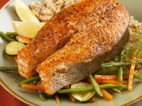 Salmon Steaks over Veggies recipe