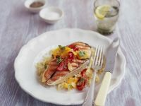 Salmon Steaks with Chili Oil and Lemony Couscous recipe
