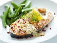 Salmon Steaks with Honey Mustard Sauce and Sugar Snap Peas recipe
