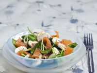 Salmon Strips with Green Leaves