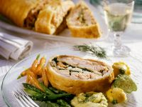 Salmon Strudel with Spinach and Shrimp recipe