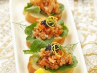 Salmon Tartar and Caviar Tapas recipe