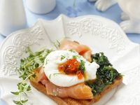 Salmon Toast with Poached Eggs and Spinach