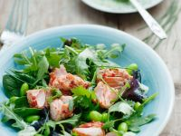 Fish with Rocket and Favas recipe