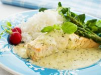 Salmon with Green Asparagus and Herb Sauce recipe