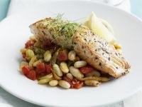 Salmon with Beans and Tomatoes recipe