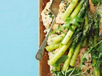 Salmon with Grains and Asparagus recipe