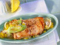 Salmon with Pepper Leek Sauce