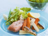 Salmon with Roasted Vegetables recipe