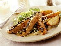 Salmon with Salad and Potatoes Wedges recipe