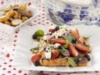 Salmon with Soy Sauce, Fruit and Feta recipe