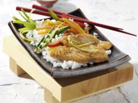 Salmon with Wasabi-soy Marinade and Vegetable Rice recipe