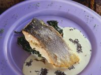 Salmon with Wilted Spinach and Cream Sauce recipe