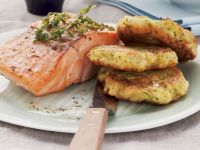 Salmon with Zucchini Fritters recipe