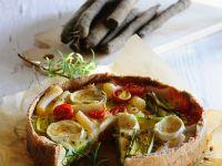 Salsify, Tomato and Goat Cheese Quiche recipe