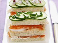 Sandwiches with Smoked Salmon, Cucumber and Eggs recipe