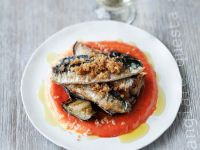 Sardines with Bell Pepper Sauce and Eggplant recipe