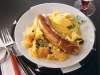 Sauerkraut with Sausage and Mashed Potatoes recipe