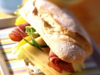 Sausage and Cheese Baguette Sandwiches with Peaches recipe