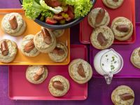 Sausage Crumpets with Salad recipe