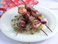 Sausage, Onion, and Pepper Brochettes recipe