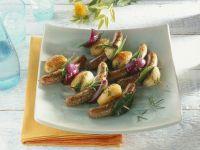 Sausage, Potato and Onion Kebabs recipe