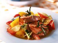 Sausage-Rosemary Skewers with Stir-Fried Vegetables recipe