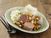 Sausage Salad with Horseradish and Mashed Parsnips recipe
