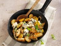 Sautéed Potatoes and Asparagus with Roquefort Cheese recipe