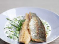 Fried Trout with Creamy Asparagus and Peas recipe