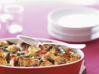 Savory Bread Pudding with Asparagus and Ham recipe