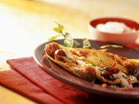 Savory Pancakes with Bacon and Gooseberry Cream recipe