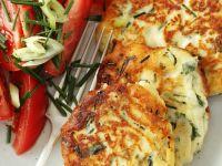 Savory Ricotta Pancakes with Tomato Salad recipe