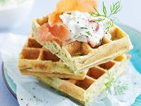 Savory Waffles with Salmon recipe