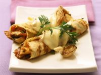 Savoury Crepe with Cheese and Oyster Mushrooms recipe