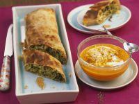 Savoury Strudel with Savoy Cabbage and Mushrooms and Horseradish Pumpkin Dip recipe