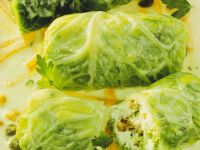 Savoy Cabbage Rolls with Creamy Carrot Sauce recipe